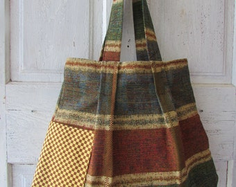 Shoulder bag Tote Hand bag hand made large shopping bag fabric bag fall colors with spunky pockets