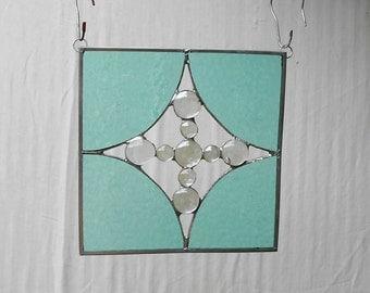 Suncatcher Stained Glass Panel, Window Treatment or Glass Yard Art, Rainbow Suncatcher, Glass Garden Flag, Handmade Glass Art, Unique Glass
