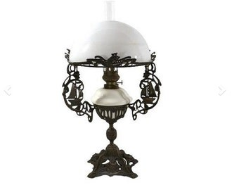 1880s Sailing Ship Oil Lamp, Four Winds Blowing, Milk Glass Shade, Dutch Royal Zanzara