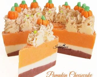 Pumpkin Cheesecake Handmade Artisan Vegan Soap Cake Slice, handmade soap, cold process soap, soap cake, cake soap, pumpkin