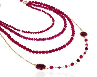 30% Fall Sale Multi Layer Ruby Necklace