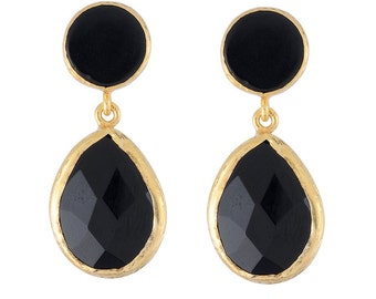 Medium Size Balck Onyx Earrings in gold Vermeil over sterling silver