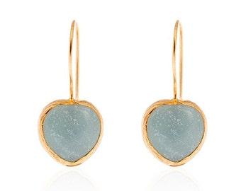 Blue Heart Amazonite Earrings