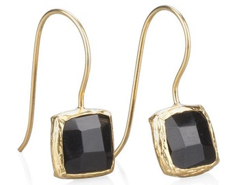 Onyx Small Square Earrings With Silver Settings Coated with Gold