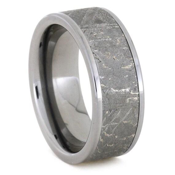 Meteorite Ring, Titanium Ring Meteorite Wedding Band, the Meteorite alone is 6mm wide showing fantastic Widmanstatten pattern