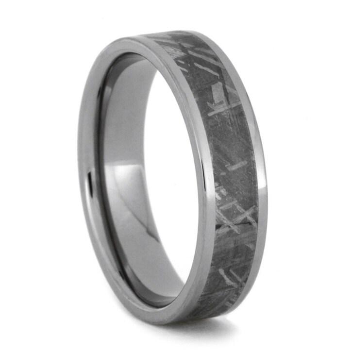 mens titanium wedding band meteorite ring by jewelrybyjohan
