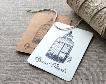 20 Birdcage Mini Thank You Cards, bird cage flat thank you cards, birdcage gift tags, bird cage gift tags