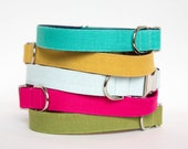Colorful Washed Linen Dog Collars - Colors in Turquoise, Pink, Yellow and Mint