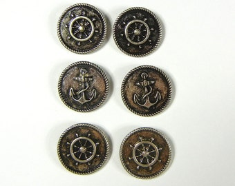 Set of 6 Double Link Round Nautical Charms