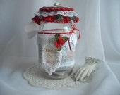 Christmas Tea Jar Vintage Inspired Ribbons And Lace One Of A Kind Quart Mason Jar Container Handmade Decorated by handcraftusa