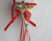 Red and Gold Victorian Inspired Cardinal Tussie Mussie Cone Recycled Paper Trinket Gift Box For Chocolates Hnd Made by Handcraftusa