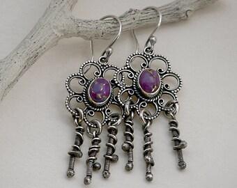 Bohemian Gypsy Purple Stones in Sterling Silver Flower Style Fringe Earrings . Tribal Southwestern Wabi Sabi Organic Boho Jewelry