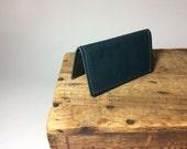 Navy Blue Bifold Wallet in reclaimed leather OOAK / Business Card Wallet by Binding Bee