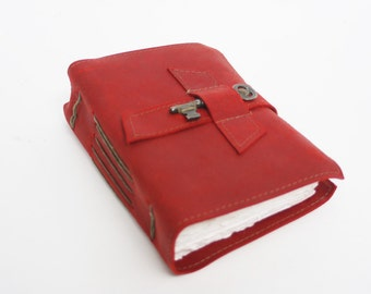 Red leather diary with handmade cotton paper