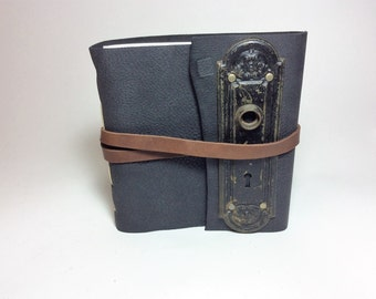 Black Leather Journal with Antique Door Plate and Skeleton Key by Binding Bee