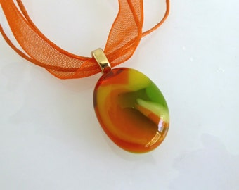 Yellow, Orange and Spring Green Fused Glass Pendant by BPRDesigns
