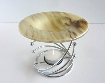French Vanilla and Brown Fused Glass Wax Tart or Oil Warmer Replacement Bowl