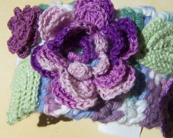 Wide crocheted Irish cuff or bracelet with lavender Roses light green leaves and multicolor band