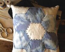 Large Hexagon Flower with Blue Shibori, Linen and Sashiko Stitching Pin Cushion