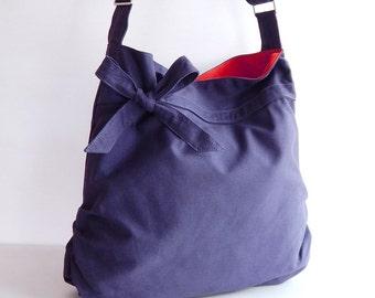 Sale - Navy blue Canvas Bag, tote, handbag, purse, bow, Cross body, unique - Dessert