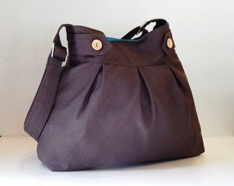 Sale - Chocolate brown canvas bag - Messenger / Diaper bag / Tote / Handbag / Shoulder bag / Women / Crossbody - ARROWS
