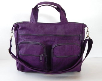 Sale - Deep Plum Water Resistant Nylon Bag - Messenger, Laptop bag, Tote, Shoulder bag, Women, Crossbody - PAMELA