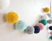 MINI yarn pom pom garland - The Penelope: White, Mustard, Aqua, Grey, Navy, Pink, and Teal - Home Decor, Party, Photo Backdrop