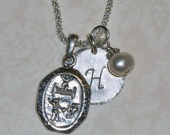 Tennis Player Protect Us St Christopher Medal Sterling Silver Pendant Charm Necklace - St Christopher Medallion Necklace - Tennis Necklace