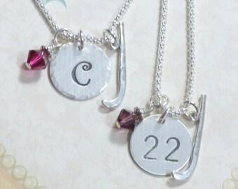 Field Hockey Necklace, Field Hockey Hand Stamped Sterling Silver Initial Charm Necklace, Field Hockey Gift, Field Hockey Jewelry