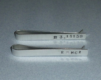 Mens Mathematic Equation Themed Hand Stamped Aluminum Tie Bar Tie Clip - Math Teacher Gift - Pi Tie Bar - E = MC 2 Tie Bar