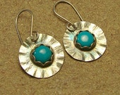 Turquoise and Sterling Silver Wavy Flower Earrings