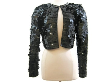 80s Bolero Jacket Vintage Sequin Sequined Black Cropped Disco AJ Bari 10
