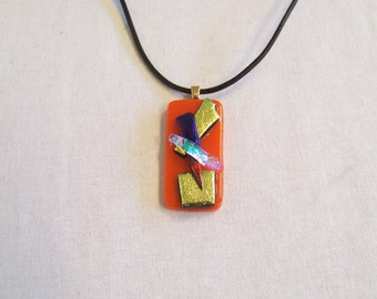 Bright pendant necklace bright scarlet red with touches of bright dichroic glass fabulously theatrical - a unique gift for your friend