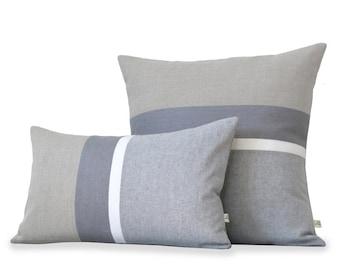 Grey Striped Linen Pillows (Pillow Cover Set of 2) Grey Chambray, Cream, Grey, Natural Stripes - Minimal Home Decor by JillianReneDecor