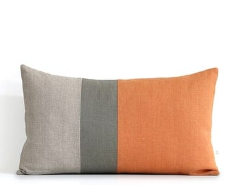 Pumpkin Orange Lumbar Pillow - 12x20 Fall Color Block Pillow Covers by JillianReneDecor, Modern Home Decor, Autumn Decorative Pillows FW2015