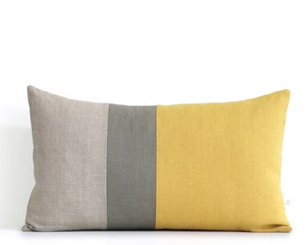 squash yellow lumbar pillow 12x20 fall color block pillow covers by modern home