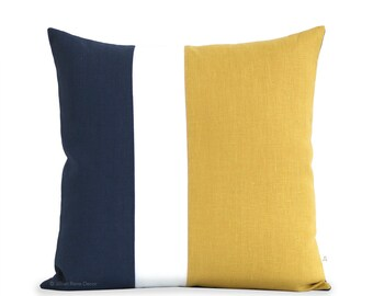 Decorative Pillows: Yellow and Navy Blue Clockblock Pillow Cover with Cream Stripe by JillianReneDecor (20x20) - Squash, Color Block
