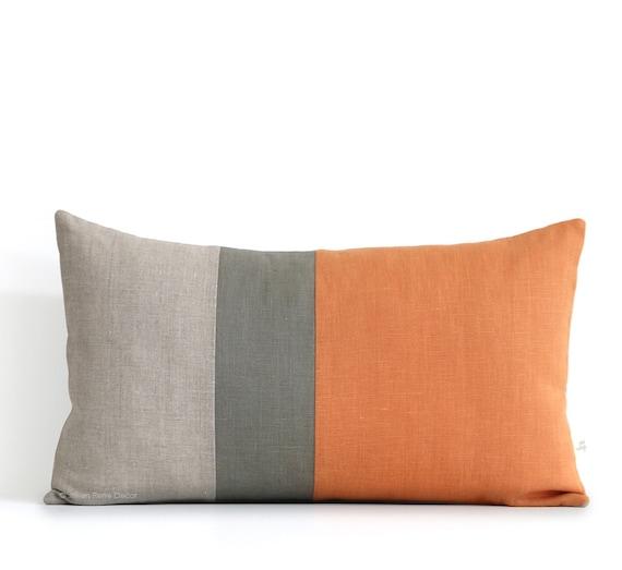 Pumpkin Orange Lumbar Pillow 12x20 Fall Color Block Pillow
