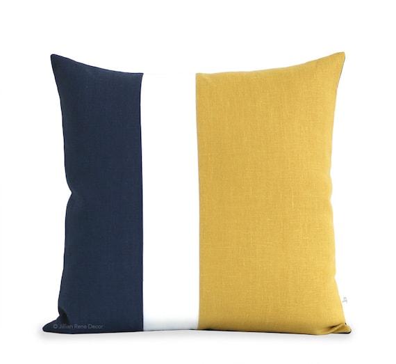 Decorative Pillows: Yellow and Navy Blue Clockblock Pillow