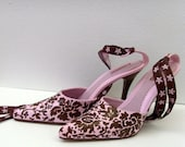Pink and Chocolate Brown Heels / Damask Ties, Hand Painted Damask Shoes / OOAK Feminine Floral Gift Under 75 / 7.5 US 38 Eur 5 UK 6 Aus