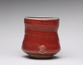 handmade pottery cup, ceramic teacup, espresso cup, sake cup with bright red and green celadon glazes