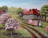 Folk Art Print Grandma's Quilts Old Woman House Road Pink Flowering Tree Cow Landscape Country Scene Arie Reinhardt Taylor