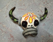 Ceramic Cow Head, day of the dead, wall hanging