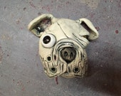 Ceramic dog head, boxer, wall hanging
