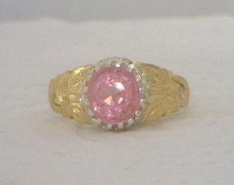 Pink Spinel Handmade Flower of Angels Silver and 18K Gold Ladies Ring size 7.75