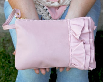 Leather Crossbody Purse- Pink - Crossbody Purse - Genuine Leather