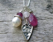 Heart Necklace, Trio Gemstone Necklace, Layering Necklace, Pink Necklace, Valentine Necklace