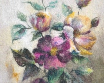 Felted painting of wool. Felted wall hanging picture. WILD ROSES. OOAK.