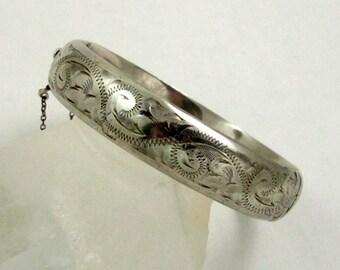 Vintage Hinged Bangle Bracelet, Sterling Silver, Victorian Style, Engraved Bracelet, Birmingham 1973