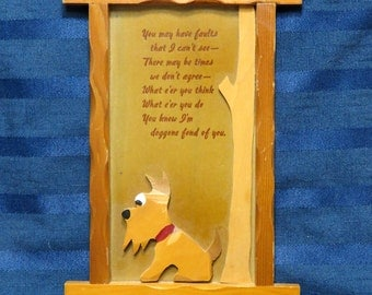 SALE Scotty Terrier Dog Wooden Motto Plaque/  A. J. Wurts Creations Wall Decor